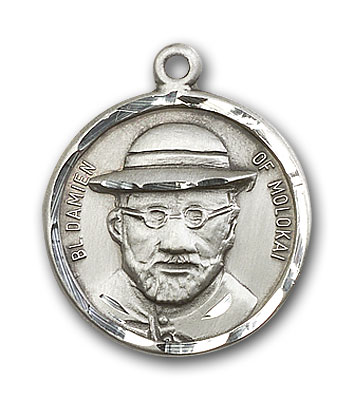 Sterling Silver Blessed Damian of Molokai Pendant