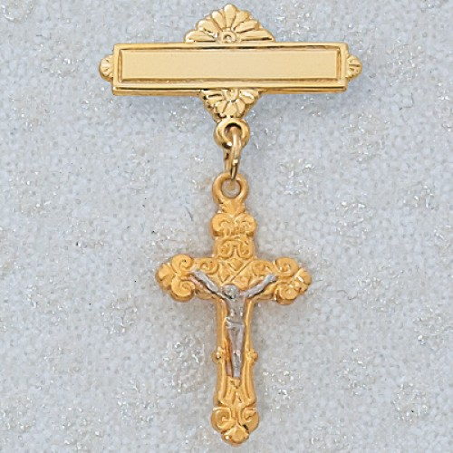 Gold over Silver Crucifix Baby Pin