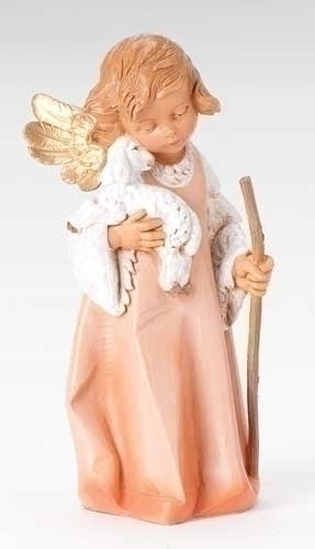 8-inch Woodtone Angel With Lamb &