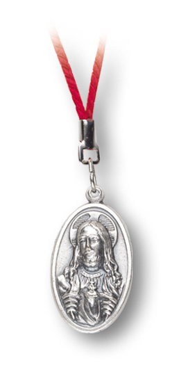 10-Pack - Sacred Heart Medal On Red Cord