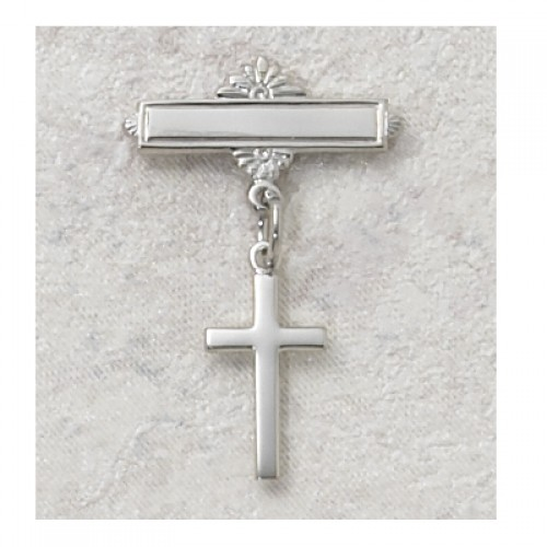 Sterling Silver Cross Rhodium Baby Pin/T