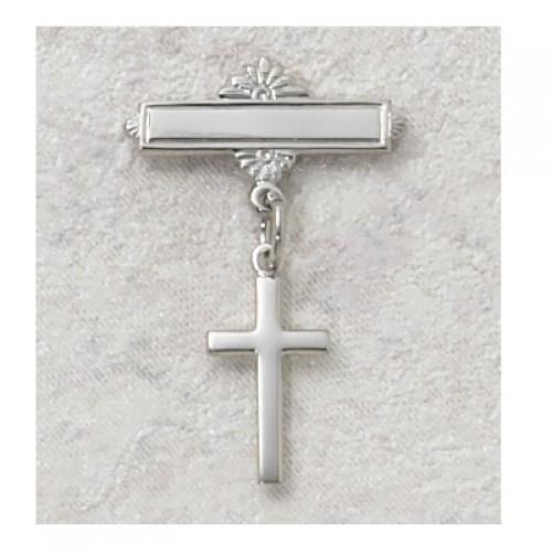Sterling Silver Cross Rhodium Baby Pin