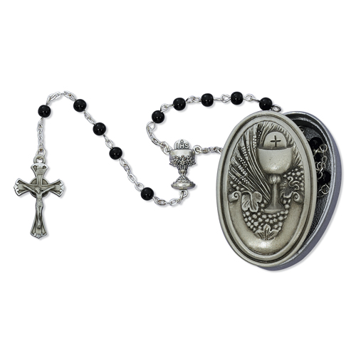 5MM Black Rosary with Communion Box
