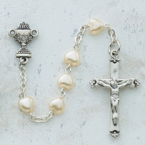 Sterling Silver 6X6 Pearl Heart Communion Rosary
