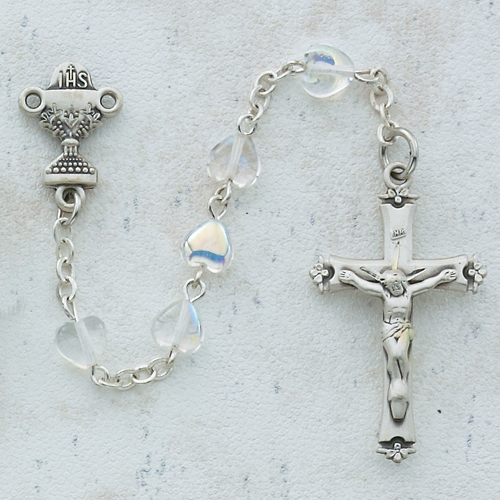 Sterling Silver 6X6 Crystal Heart Communion Rosary