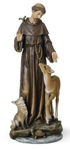 13.75-inch St Francis With Deer Fig