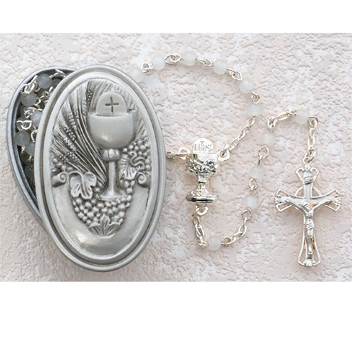 5MM White Rosary with Communion Box