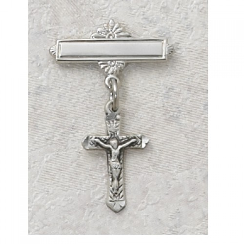 Sterling Silver Crucifix Rhodium Baby Pin/T
