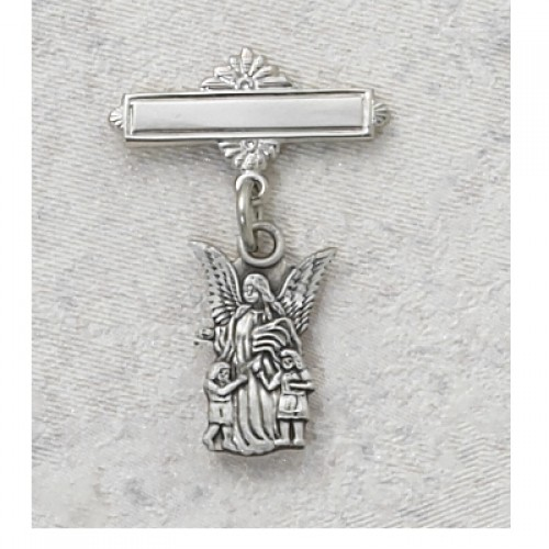 Sterling Silver Guardian Angel Rhodium Baby Pin