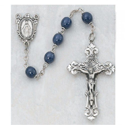 Sterling Silver 7MM Blue Glass Rosary
