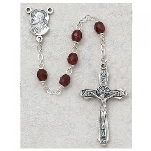 Sterling Silver 5MM Garnet Rosary