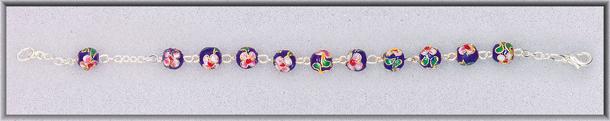 7MM Blue Cloisonne Bead Rosary Bracelet