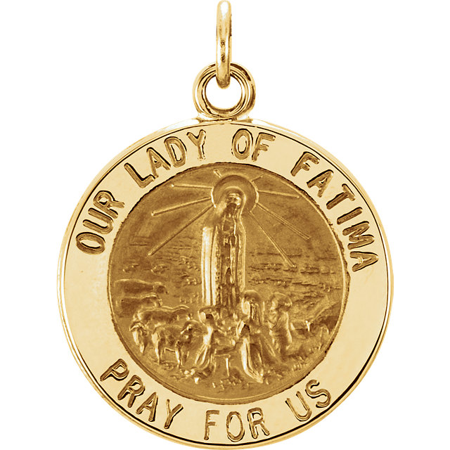 14K Yellow Gold Our Lady Of Fatima Medal