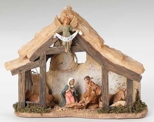 Musical 6-inch Nativity With 6 2.5-inch Figs W