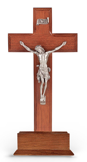 "10""Standing Walnut Wood Cross Base with Pewter Crucifix"