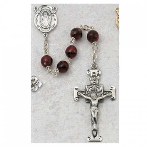 Sterling Silver 7MM Red Glass Rosary