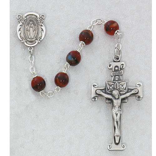 7MM Red Glass Rosary