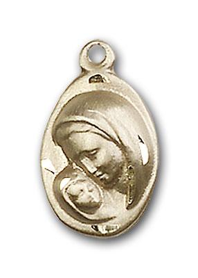 14K Gold Madonna & Child Pendant - Engravable