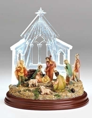 8-inch LED Nativity In Stable Fig