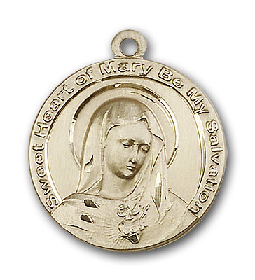 14K Gold Mary Pendant