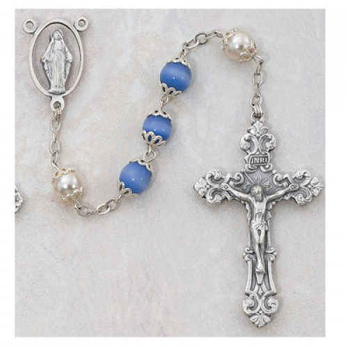 7MM Blue Cats Eye/Pearl Rosary
