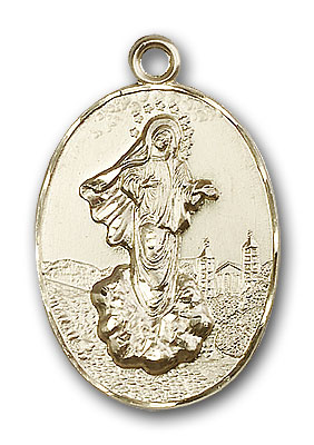 14K Gold Our Lady of Medjugorje Pendant - Engravable
