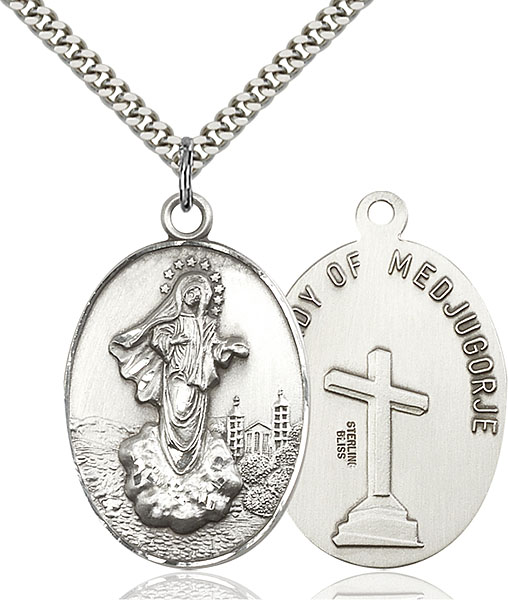 Sterling Silver Our Lady of Medjugorje Pendant