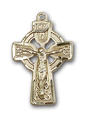 14K Gold Celtic Crucifix Pendant