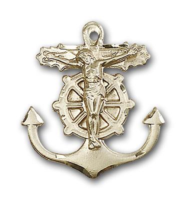 14K Gold Anchor Crucifix Pendant