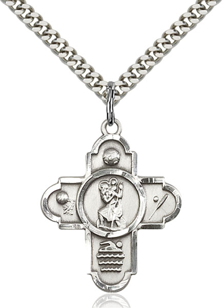 Sterling Silver 5-Way St Christopher/Sports Pendan