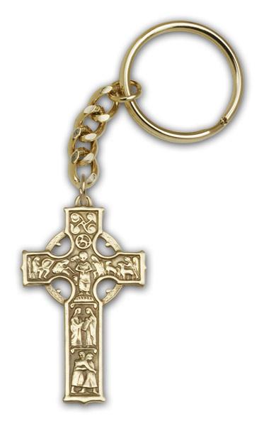 Antique Gold Celtic Cross Keychain