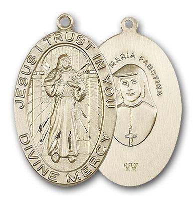 14K Gold Divine Mercy Pendant - Engravable
