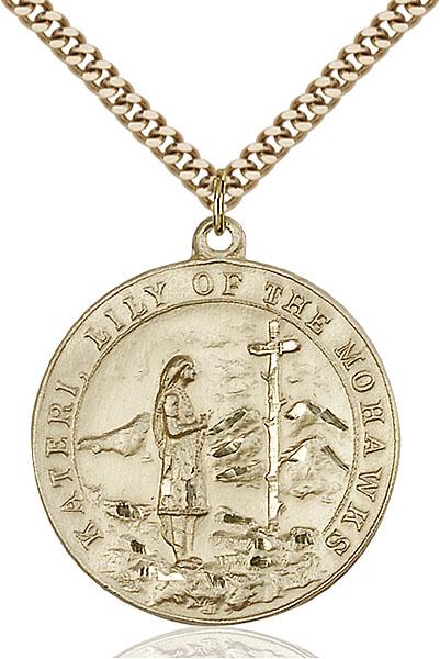 Gold-Filled St. Kateri Pendant