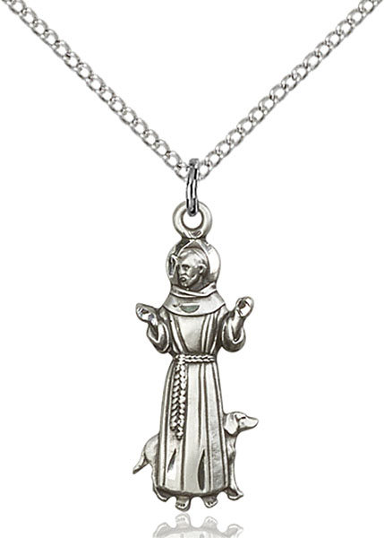 Sterling Silver St. Francis with Dog Pendant