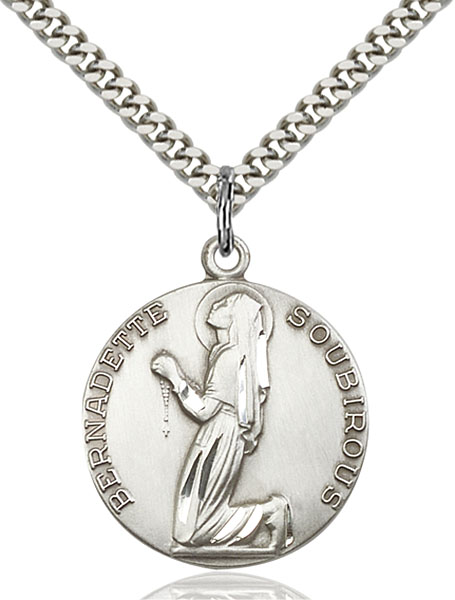 Sterling Silver St. Bernadette Pendant