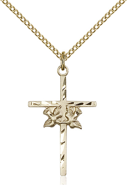 Gold-Filled Doves / Cross Pendant
