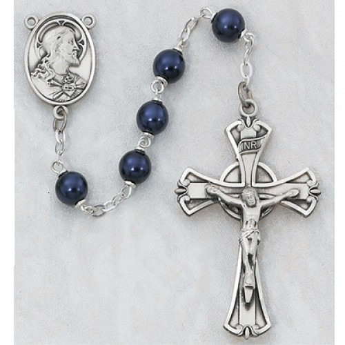 7MM Blue Metallic Rosary