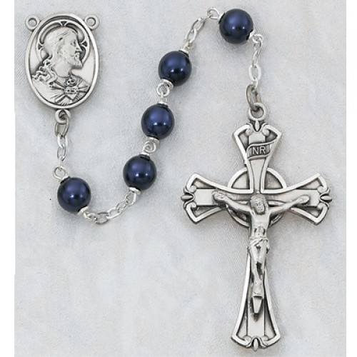 Sterling Silver 7MM Dark Blue Rosary