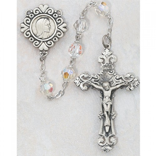 Sterling Silver 7MM Tin Cut Crystal Rosary