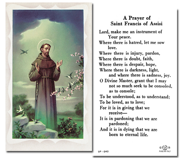 100-Pack - St Francis Of Assisi Holy Card With Prayer