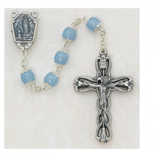 8MM Blue Glass Lourdes Rosary