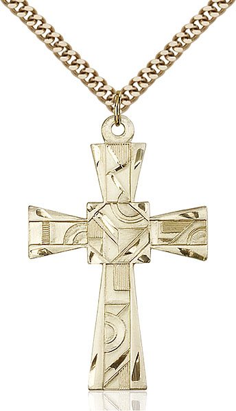Gold-Filled Mosaic Cross Pendant