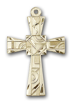14K Gold Mosaic Cross Pendant
