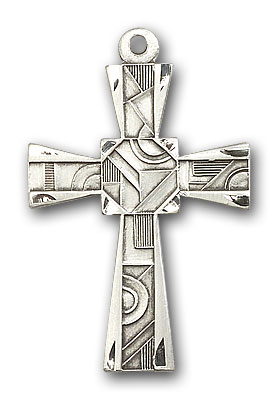 Sterling Silver Mosaic Cross Pendant
