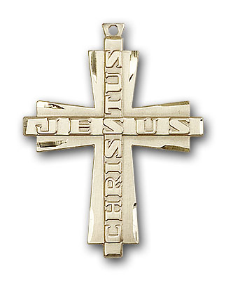 14K Gold Jesus Christus Cross Pendant