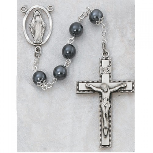 7MM Immitation Hematite and Silver Rosary