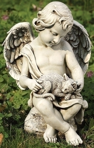 12-inch Cherub With Kitten