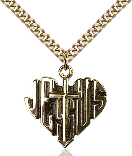 Gold-Filled Heart of Jesus / Cross Pendant