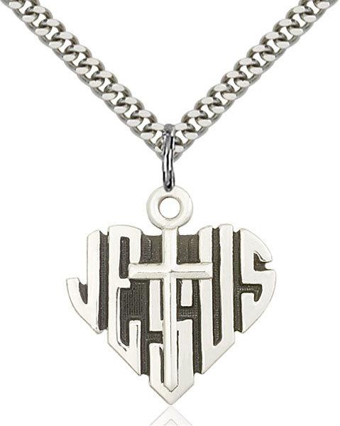Sterling Silver Heart of Jesus / Cross Pendant
