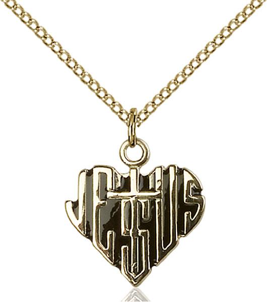 Gold-Filled Heart of Jesus / Cross Pendant